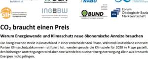 CO2 braucht einen Preis – Appell an zukünftige Bundesregierung