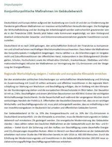 Forderung: Konjunkturpolitische Maßnahmen im Gebäudebereich