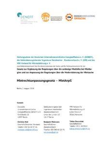 Stellungnahme zum Referentenentwurf für das Mietrechtsanpassungsgesetz