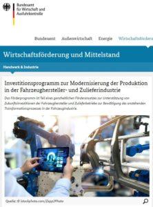 Neues Investitionsprogramm zur Modernisierung der Produktion in der Fahrzeughersteller- und Zulieferindustrie
